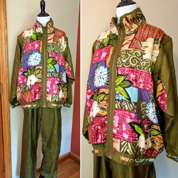 dbf766ca62d6 Vintage Jackets & Coats | 2pc 90s Silk Evr Green Floral Track Suit ...